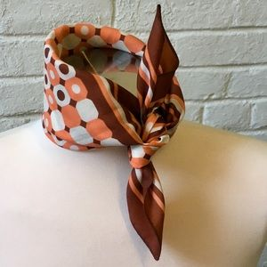 Vintage graphic burnt orange scarf